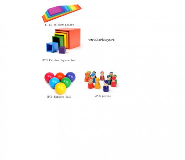 Montessori Rainbow Blocks - Placute Curcubeu 11 piese 3
