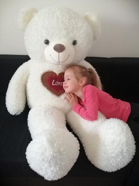 Ursulet de plus Alb cu inima 130 cm 1