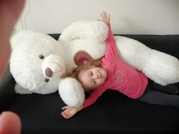 Ursulet de plus Alb cu inima 130 cm 3