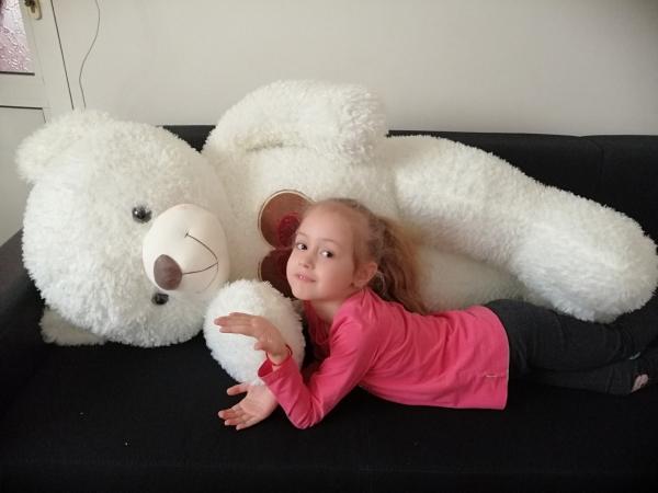 Ursulet de plus Alb cu inima 130 cm 0