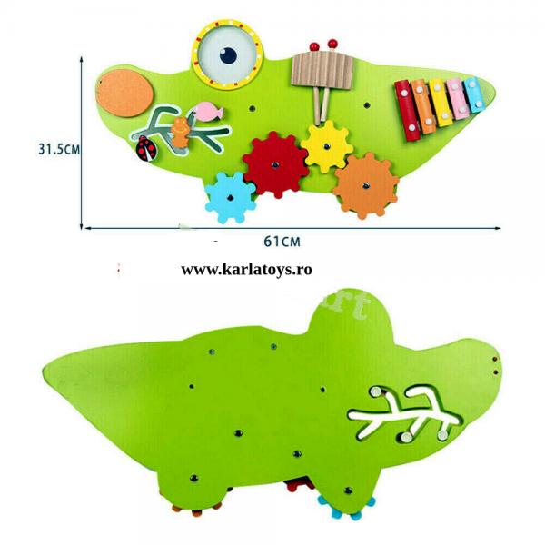 Placa senzoriala din lemn Crocodil - Panou acctivitatii copii 2