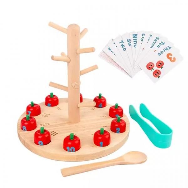 Joc educativ montessori din lemn Pomul cu Mere [5]