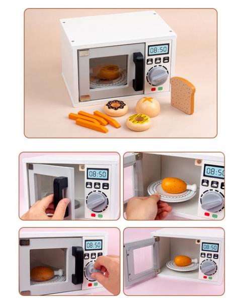 Cuptor cu microunde din lemn si accesori pentru copii 0