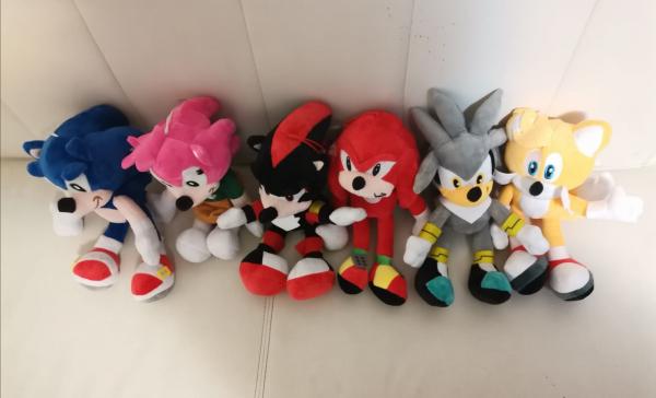 Set 6 buc Jucarii de plus Super Sonic - Set Plusuri Sonic Hedgehog 3