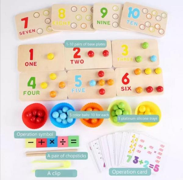 Joc matematica montessori numere si bile din lemn 4
