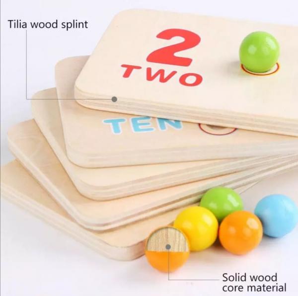 Joc matematica montessori numere si bile din lemn 3