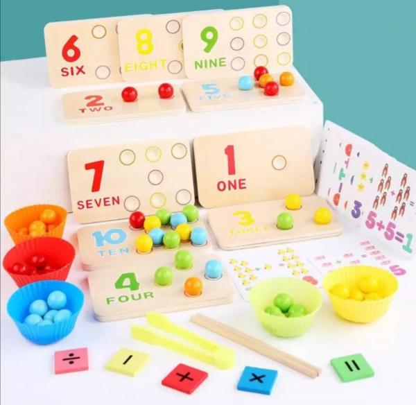 Joc matematica montessori numere si bile din lemn 1