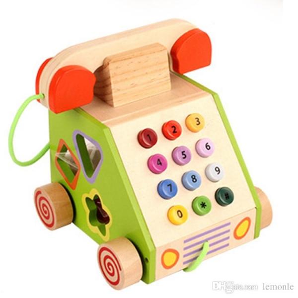 Jucarie din lemn Telefon cu forme si cifre 2