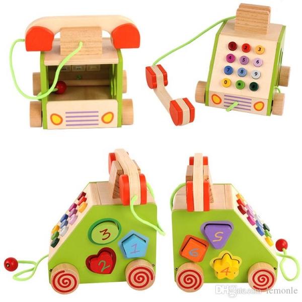 Jucarie din lemn Telefon cu forme si cifre 1
