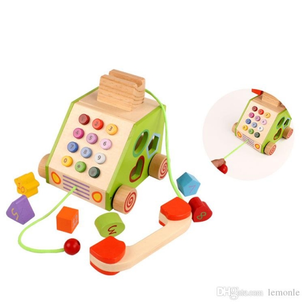 Jucarie din lemn Telefon cu forme si cifre 0
