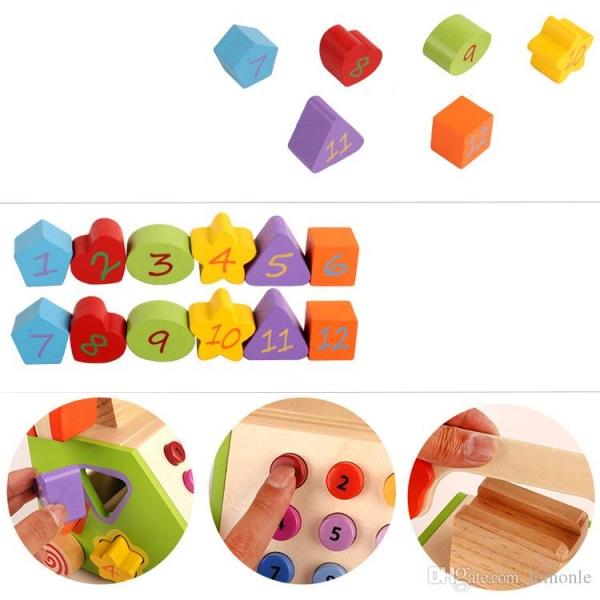 Jucarie din lemn Telefon cu forme si cifre 4