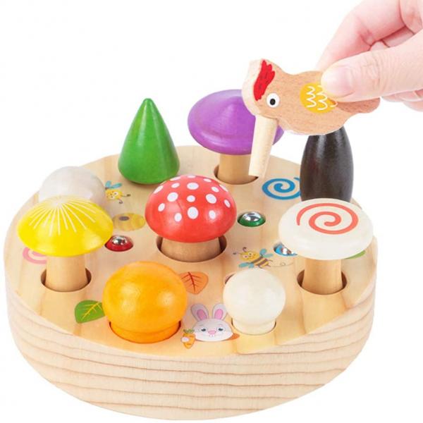 Joc din Lemn Montessori Magnetic Ciuperci de cules 0