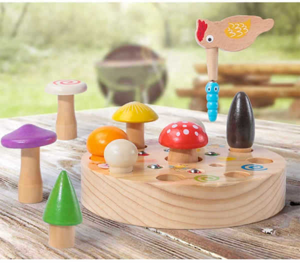 Joc din Lemn Montessori Magnetic Ciuperci de cules 3