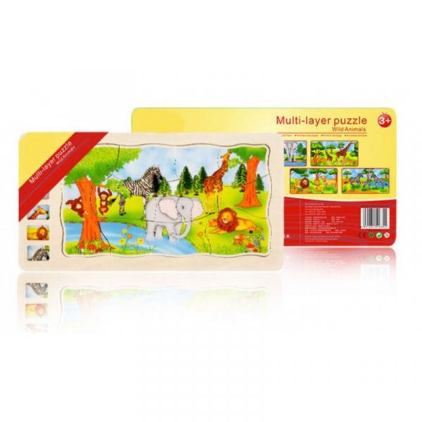 Joc din lemn Puzzle in straturi Onshine Animale 5