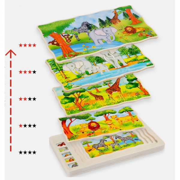Joc din lemn Puzzle in straturi Onshine Animale 6