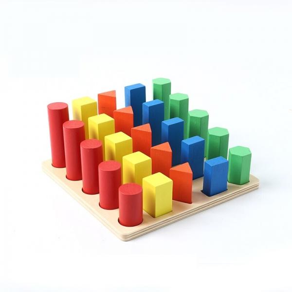 Joc lemn montessori forme geometrice - Joc Montessori Scara din lemn învățare lungime formă geometrică [0]