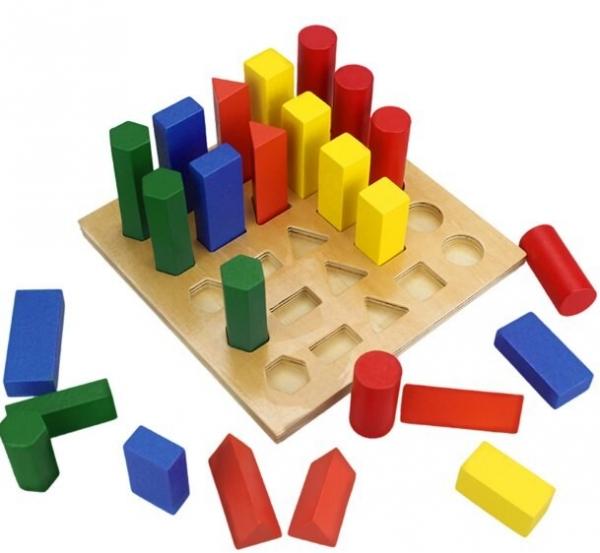 Joc lemn montessori forme geometrice - Joc Montessori Scara din lemn învățare lungime formă geometrică [5]