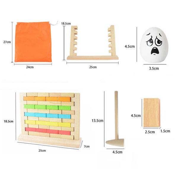 Joc din lemn cuburi de construit Zidul - Joc puzzle educativ Zidul 1