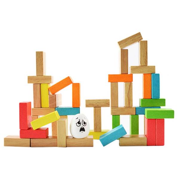 Joc din lemn cuburi de construit Zidul - Joc puzzle educativ Zidul 2