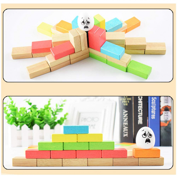 Joc din lemn cuburi de construit Zidul - Joc puzzle educativ Zidul 4