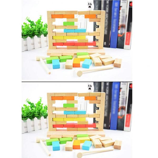 Joc din lemn cuburi de construit Zidul - Joc puzzle educativ Zidul 6