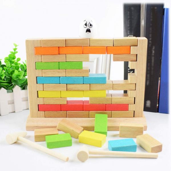 Joc din lemn cuburi de construit Zidul - Joc puzzle educativ Zidul 0