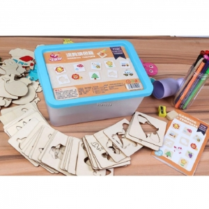 Trusa desen cu Sabloane din lemn si accesorii pentru copii1