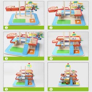Jucarie Parcare din Lemn Public Garage cu Accesorii4