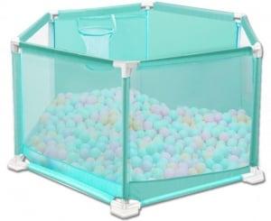 Tarc pentru Bebe Hexagonal cu 50 de bile - Tarc Bebe cu Bile Si Cos de baschet0