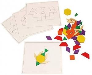 Joc din Lemn Tangram Puzzle Blocks 125 piese - 250 piese6