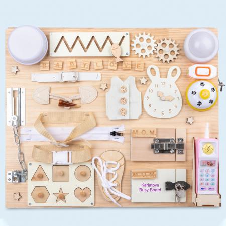 Placa din lemn Montessori Senzoriala Incuietori Busy Board 2 in 1 [2]