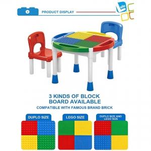 Masa Lego cu 2 Scaune 2 in 1 Compatibila cu Piesele Lego0