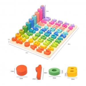 Joc Lemn Litere si Cifre 6 in 1 Joc Montessori Litere Cifre Mari [2]