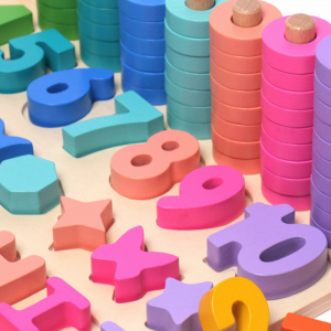 Joc Lemn Litere si Cifre 6 in 1 Joc Montessori Litere Cifre Mari [7]
