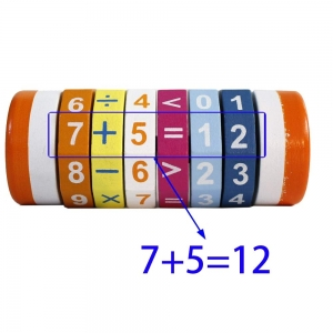 Joc Cilindru  din lemn Puzzle Aritmetic  Onshine5