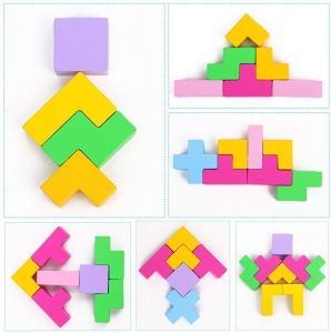 Joc echilibru din lemn Tetris Curcubeu2