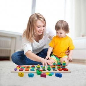 Set Puzzle din Lemn Montessori sa invatam Alfabetul si Cifrele 4 in 15