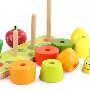 Joc din lemn Stivuire coloane cu fructe3