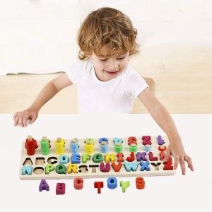 Set Puzzle din Lemn Montessori sa invatam Alfabetul si Cifrele 4 in 13