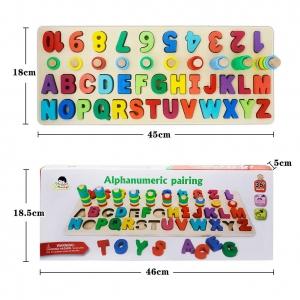 Set Puzzle din Lemn Montessori sa invatam Alfabetul si Cifrele 4 in 17