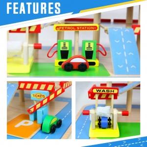 Jucarie Parcare din Lemn Public Garage cu Accesorii9