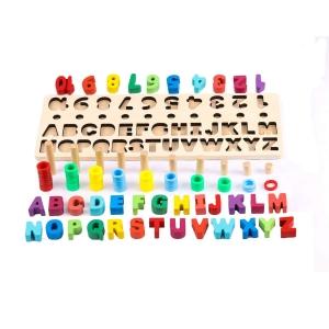 Set Puzzle din Lemn Montessori sa invatam Alfabetul si Cifrele 4 in 14