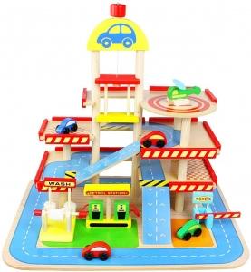 Jucarie Parcare din Lemn Public Garage cu Accesorii12