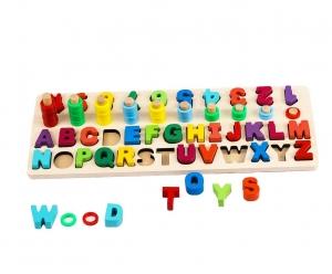 Set Puzzle din Lemn Montessori sa invatam Alfabetul si Cifrele 4 in 11