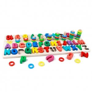 Set Puzzle din Lemn Montessori sa invatam Alfabetul si Cifrele 4 in 110