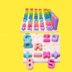 Joc Lemn Litere si Cifre 6 in 1 Joc Montessori Litere Cifre Mari [1]