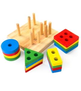 Joc din Lemn Figuri Geometrice Sortare Color Set3