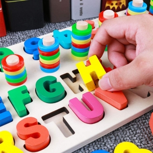 Set Puzzle din Lemn Montessori sa invatam Alfabetul si Cifrele 4 in 19