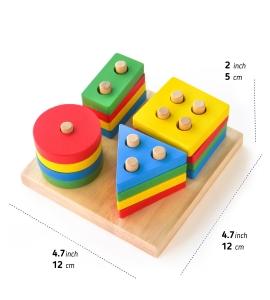 Joc din Lemn Figuri Geometrice Sortare Color Set2