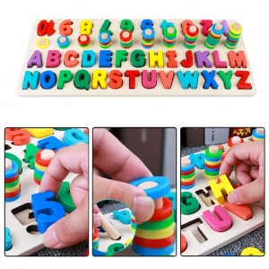 Set Puzzle din Lemn Montessori sa invatam Alfabetul si Cifrele 4 in 16